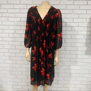 Calvin Klein Chiffon Floral Print Pleated Dress